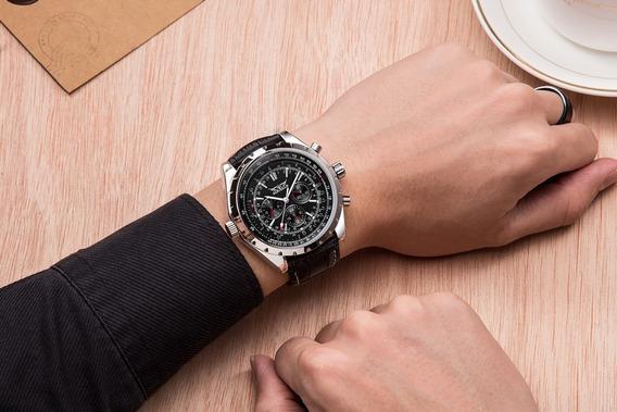 Relógio Jaragar Jar212, Couro, Automático, Preço Promocional