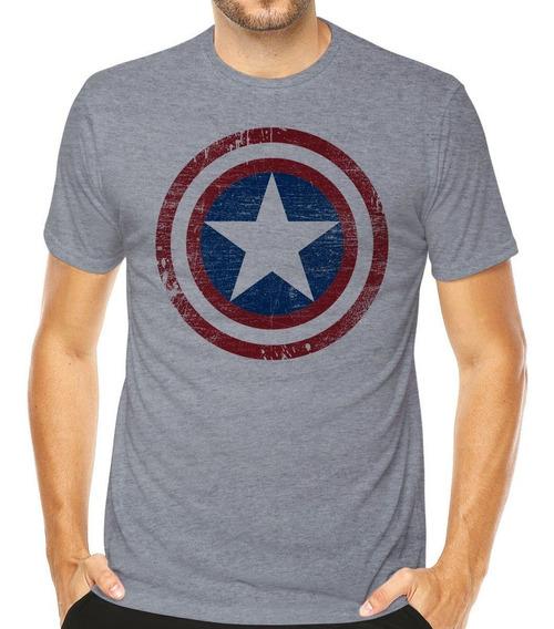 Camiseta Capitão América Marvel Geek Nerd Escudo Desgastado