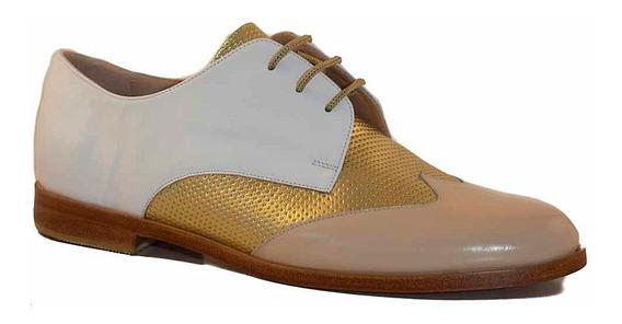 Zapato Mujer Verano Cuero Abotinado Briganti Suela Mccha2992