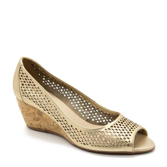 Sapato Bottero Peep Toe Anabela Dourado