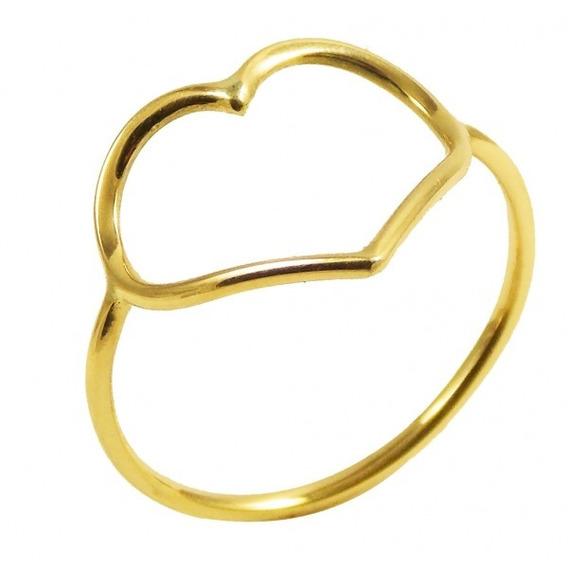 Anel Coração Coração Em Ouro 18k