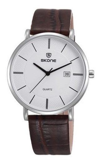 Relógio Original Skone Original Em Couro - 1 Ano Garantia