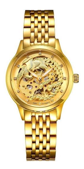 Relógio Mecânico Dourado Feminino De Dragão Automático