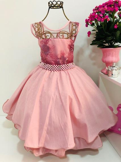 Vestido Rosê Infantil Renda Luxo Aniversário Cod. 1942