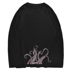 Tripulación Neck Pulpo Impresión Jersey T -camisa