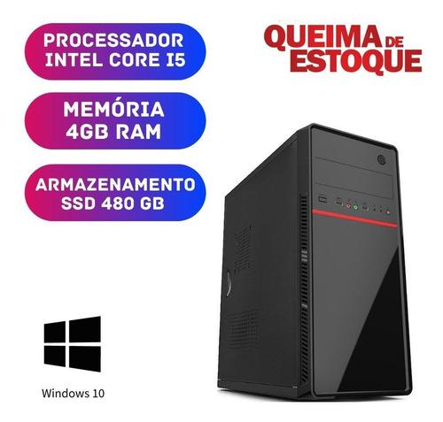 Computador Cpu Desktop Pc Core I5 4gb Ssd 480 Win10 Oem Hdmi