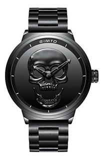 Gimto Creative 3d Skull Reloj Para Hombre Cool Stainless Ste