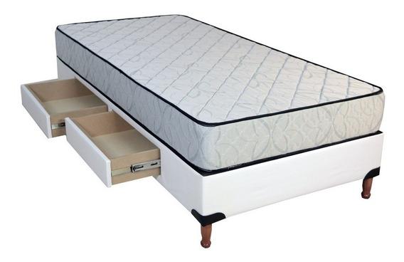 Base Somier Box 2 Cajones 1 1/2 Plazas + Colchón Aqua 90x190