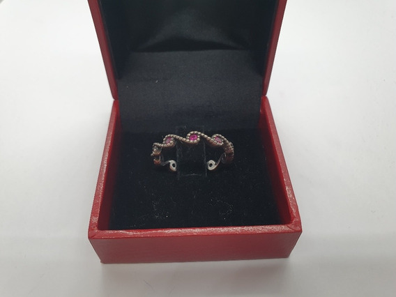 Anel Ondulado Com Pedra Rosa Em Prata 925 C Garantia Lj0106
