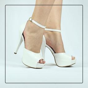 dd66eff30 Sandalias Salto Alto Meia Pata Com Tiras - Sapatos Branco no Mercado ...
