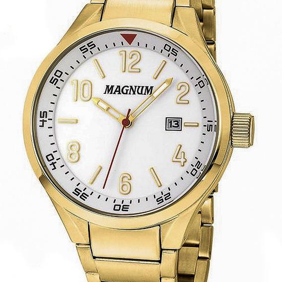 Relógio Masculino Magnum Dourado Ma32238z Calendário Top