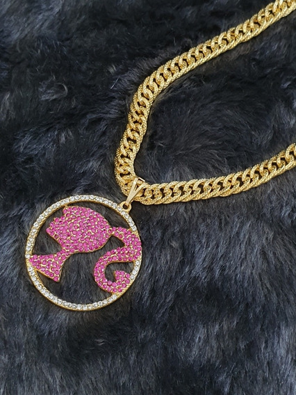 Cordão Barbie Grosso Banhado A Ouro C/pingente Strass E Case
