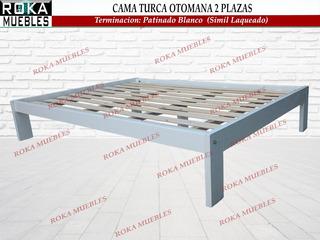 Cama Turca Otomana De 2 Plazas Patinado De Blanco