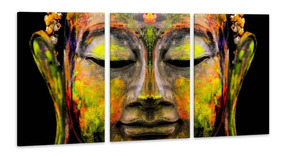 Quadro 60x120cm Canvas Rosto Buda Colorido Decorativo Salas