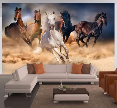 Imagem 1 de 2 de Papel De Parede Paisagem Cavalos Painel Fotográfico M² Anm16