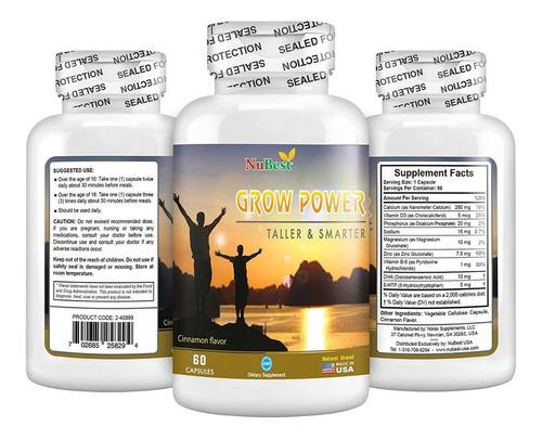 Grow Power Vitamina Crecimiento De Estatura Jovenes Adultos