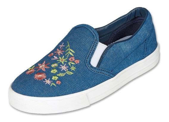 Calzado Kids Niña Zapato Sneaker Textil Flores Casual Cómodo