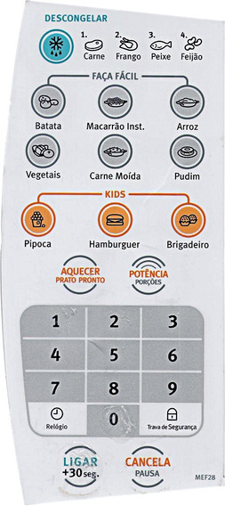 Membrana Painel Cont Microondas Electrolux Cod 67400254 Orig