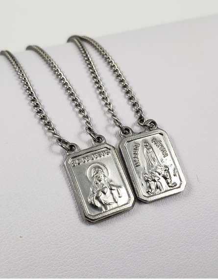 Escapulário Aço Inox Sagrado C. De Jesus / N.sra. De Fátima