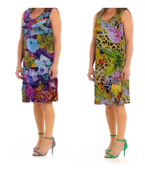 Vestido Feminino Senhora Liganete Malha Fria Regata Kit 02 P