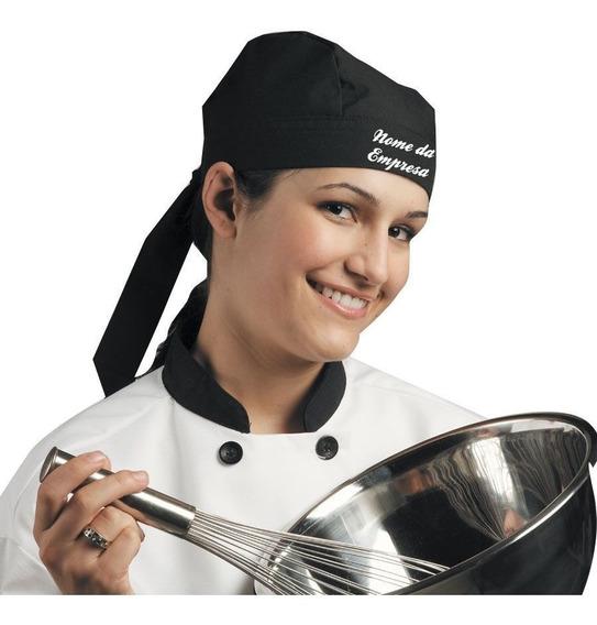 Kit 2 Bandanas Bares Rock Moto Touca Uniforme Preta Garçom Chef Barman Cozinha Cozinheira Unissex* Bordado
