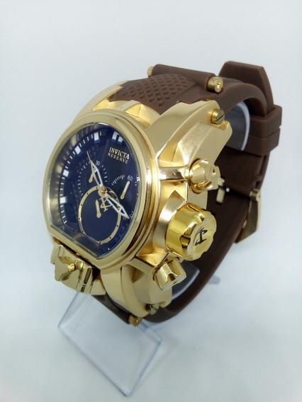 Relógio Dourado Preto Puseira Marrom Borracha Grande Pesado
