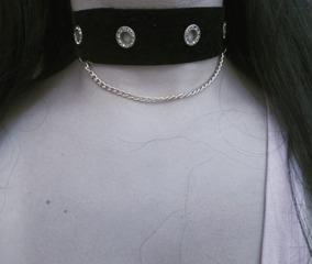 Gargantilha/chocker Golden Chain Veludo