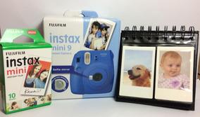 Kit Câmera Instax Mini 9 Azul Cobalto + Filme + Porta Fotos