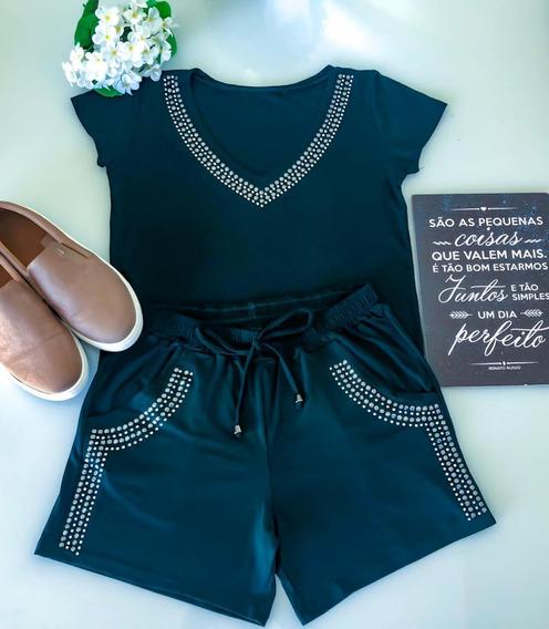 Conjunto Feminino Com Pedras Verão Pronta Entrega Moda Cpv
