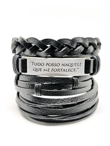 Pulseira Bracelete Masculina Feminina Kit 4 Unidades