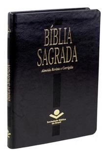 Bíblia Almeida Revista Corrigida Ultra Slim Fina Luxo Preta