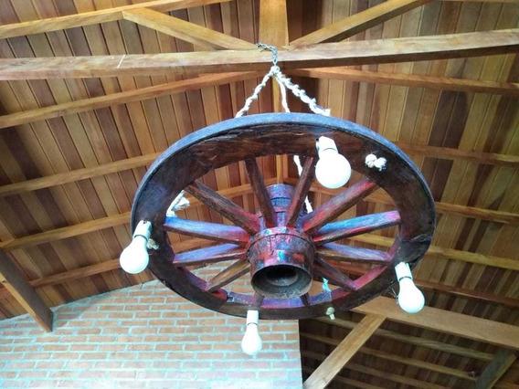 Lustre Rustico Roda De Carroça Original.