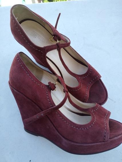Zapatos Mujer Sandalias Etiqueta Negra Gamuza Bordo 36