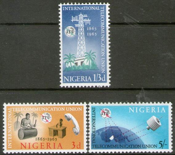 Nigeria 3 Sellos Nuevos 100° Telecomunicaciones Año 1965