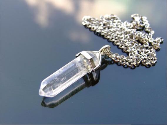 Colar Pingente Pêndulo Cristal Quartzo Branco Reiki - J2869b
