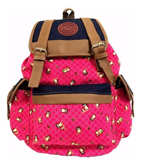 Bolsa Blue Pink Feminina Moda Mochila Corujas Universitária