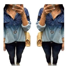 Camisa Jeans Degrade Feminina Manga Longa - Preço Atacado