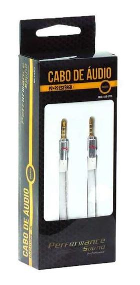Cabo De Áudio P2 Para P2 Estéreo Chip Sce Branco 2 Metros