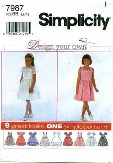 Simplicity 7987 R Patron De Costura Para Vestidos De Nina Ta