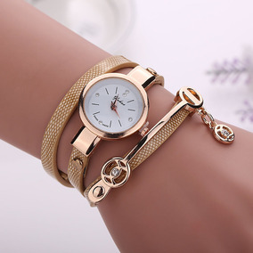 Relógio Feminino Pulso Cristal Quartzo Analógico - Bege