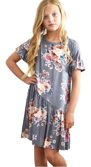 Vestido Infantil Niña Estampado Floral Olan Inferior 22061