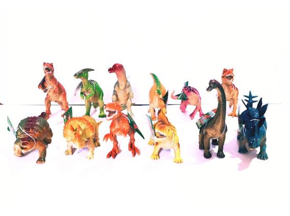 Set De 12 Dinosaurios, Rex, Cuello Largo, Triceratops