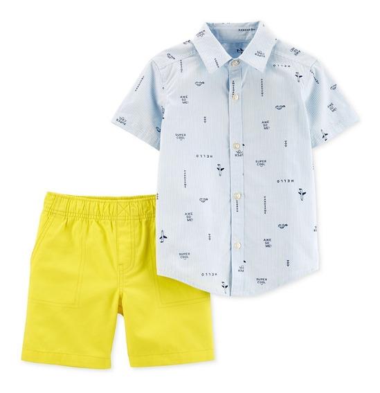Carters Conjunto Para Bebe Niño Short Camisa 2 Pcs