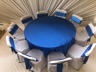 10 Manteles Para Mesa Redonda Largos Y 100 Bandas Azul Rey