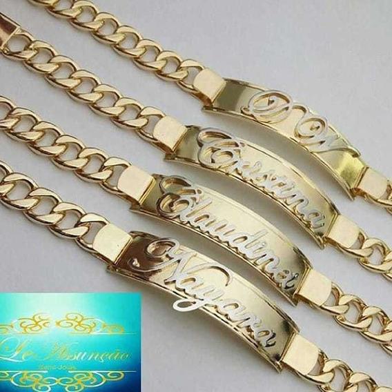 Pulseira Personalizada Luxo Banhada Ouro A18k C Certificado