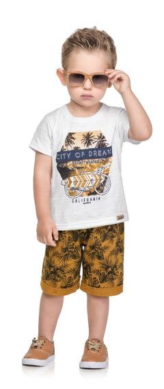 Conjunto Camiseta Meia Malha Trabalhada E Bermuda