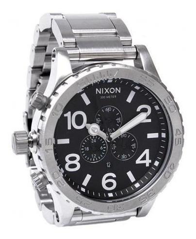 Relógio G0444 Nixon Preto - Pulseira Aço Prata C/ Caixa