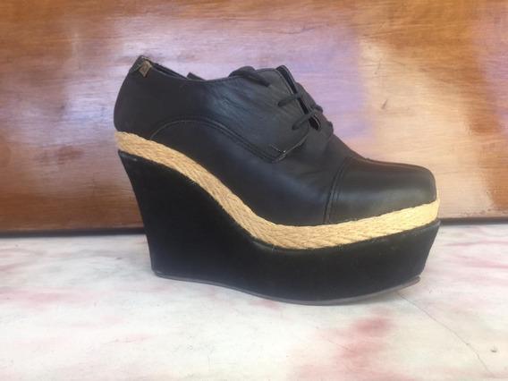 Zapatos Plataformas Suecos Mujer Talle 40 De Cuero 47 Street