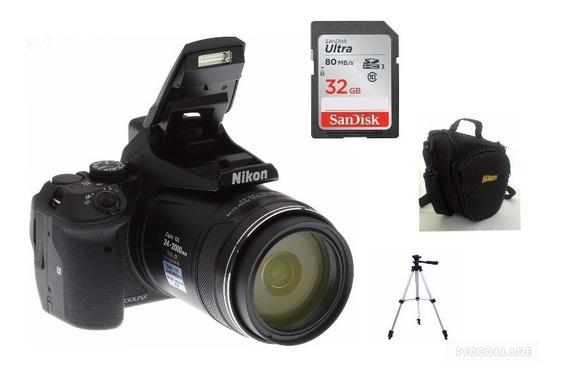 Câmera Nikon Coolpix P900+64gb+bolsa+tripé
