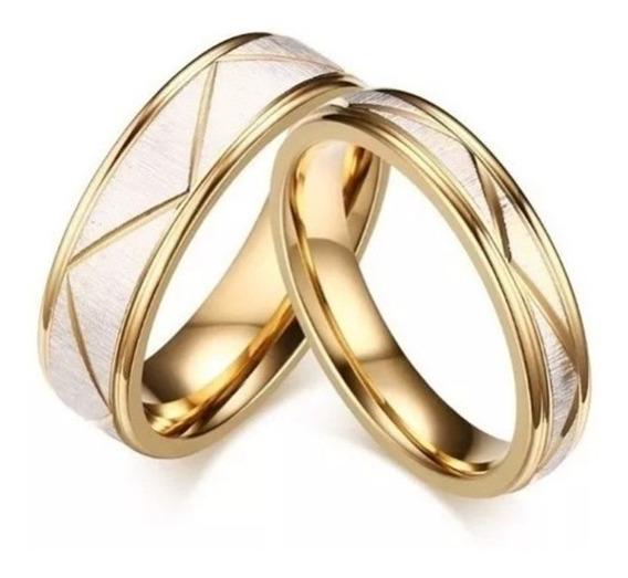 Par Aliança Unidade Elegante Compromisso Noivado Namoro Ouro